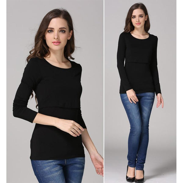 Long Sleeve Nursing Maternity Basic Top