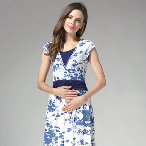 High Waist Porcelain Floral Maternity Nursing Dress