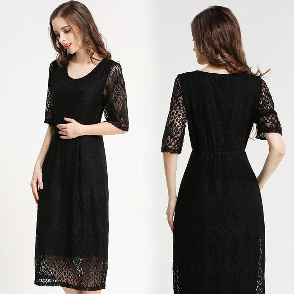 Lace Midi Dress Nursing Maternity Evening Wear (Black/Pink)