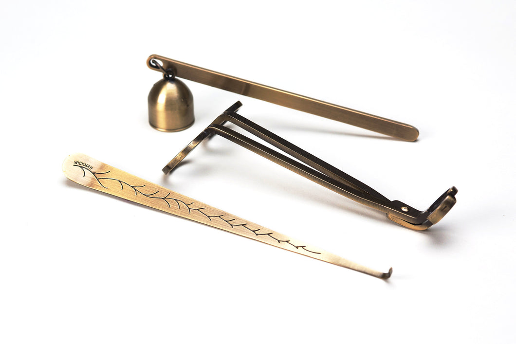 Wickman Wick Trimmer Wick Dipper and Bell Snuffer Antique Brass Gift Set