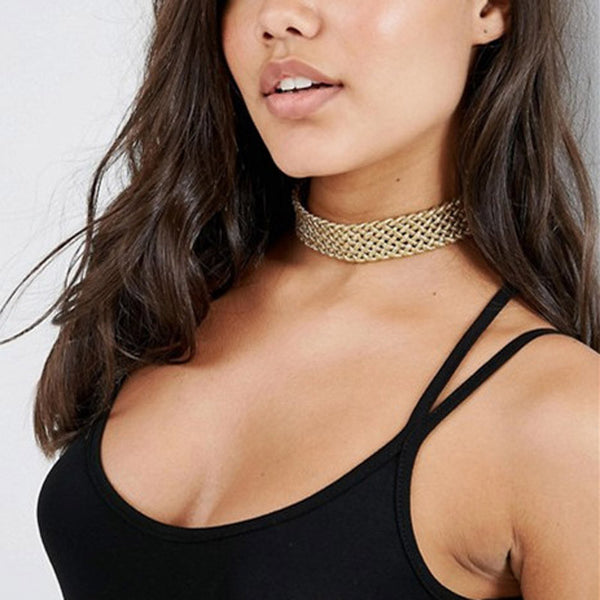 Wilhelmina Leather rope weave choker necklace
