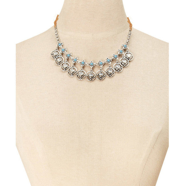 Zafirah antique silver color choker necklace