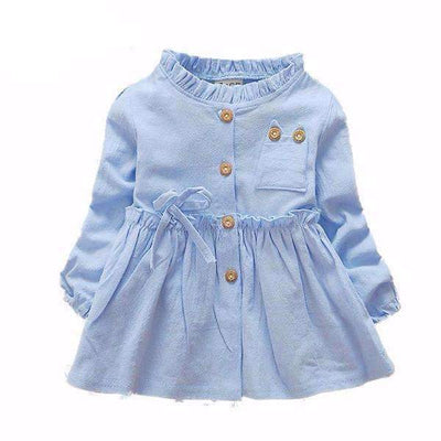 Fashion Ruffles Cotton Long Sleeve Dress for Baby Girls