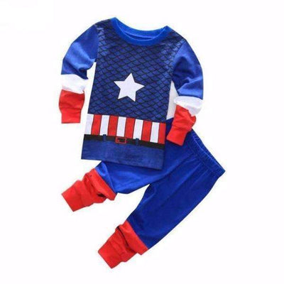 Marvel Captain America Cotton Long Sleeve Pijamas for Boys [2 Models Available]