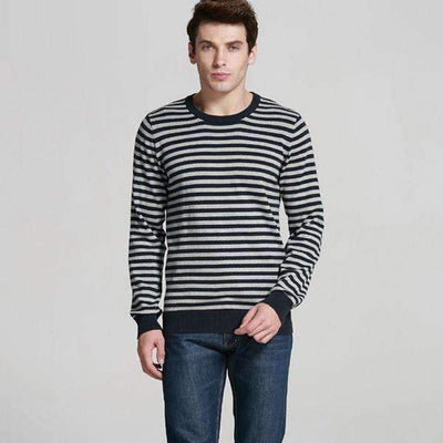 Casual Basic Striped Knitted O-Neck Pullover Sweater for Men - Peeksify.com