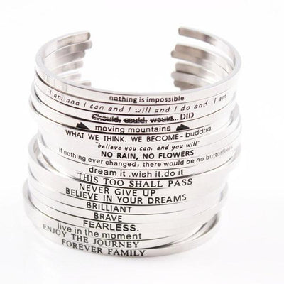 2018 Quotes Mantra Stainless Steel Open Cuff Bracelet [10+ BRACELETS SPECIAL DISCOUNT]