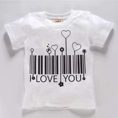 Summer I LOVE YOU BAR CODE Printed Short Sleeve Cotton T-Shirt for Girls - Peeksify.com