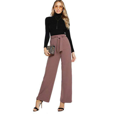 Self Tie Waist High Waist Palazzo Pants