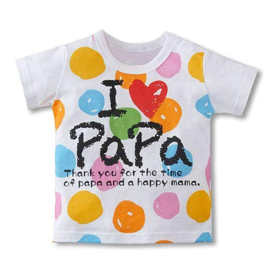 I Love PaPa & I Love MaMa Printed Letters with Multicolor Dots Short Sleeve T-Shirt for Girls - Peeksify.com