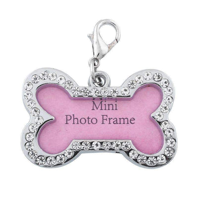 Customized Personalized Bone Shaped Dog Cute ID Photo Frame Tag with Charming Diamond Decoration, Pet ID Tags - Peeksify.com