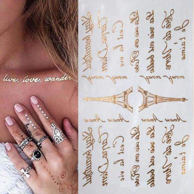 Metallic Gold & Silver Waterproof Letters & Eiffel Tower Temporary Tattoos - Peeksify.com