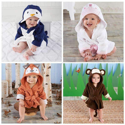 Animals Soft Flannel Hooded Bathrobe Towel for Girls - Peeksify.com