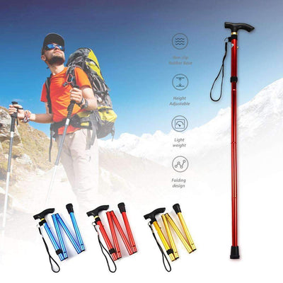 Ultralight 4-section Adjustable Aluminum Alloy Folding Cane Walking Stick Pole - Peeksify.com