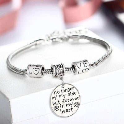 Cat/Dog Paw Print Message to Remember Bracelet - No Longer By My Side But Forever In My Heart - Peeksify.com