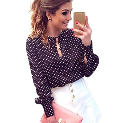 Long Sleeve Polka White Dots Hollow Sexy Casual Elegant Blouse for Women, Women Blouses - Peeksify.com