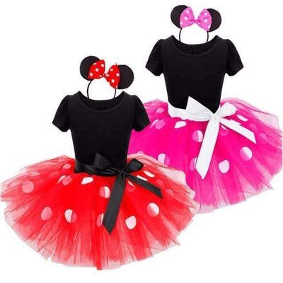Minnie Mouse Fancy Costume Party Tutu Dress & Headband for Girls [9M-6Y Sizes Available], Girl Dresses - Peeksify.com