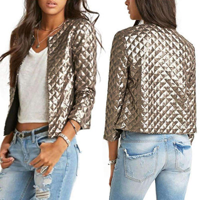 Fashion Gold Sequins Three Quarter Sleeve Jacket for Women - Peeksify.com