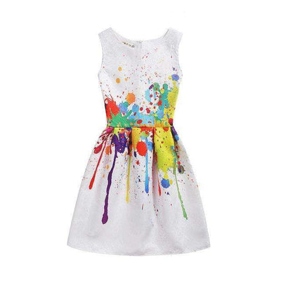 Summer Style Sleeveless Color Splash Printed Party Dress for Girls - Peeksify.com