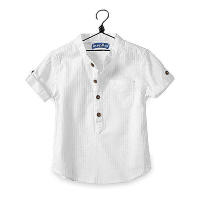 Casual Cotton Short Sleeve Buttoned White Shirt for Boys, Boy Shirts - Peeksify.com