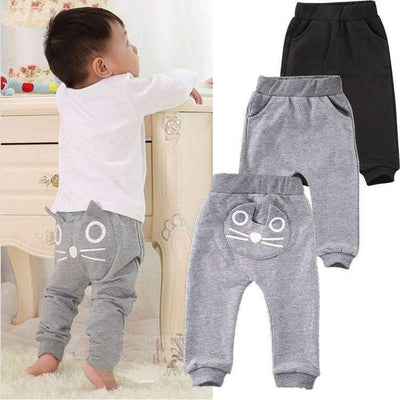 Cute Cat Face Cotton Warm Long Pants for Baby Boys, Baby Boy Pants - Peeksify.com