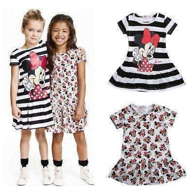 Minnie Mouse Cartoon Comfortable Cotton Dress for Girls [2 Models Available], Girl Dresses - Peeksify.com