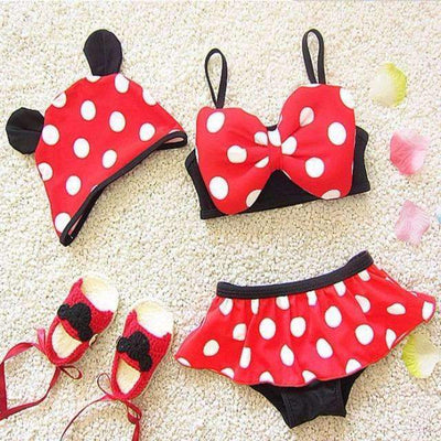 New Cute Minnie Mouse Dot Swimsuit for Girls [2-10 Years Sizes Available], Girl Swimsuits - Peeksify.com