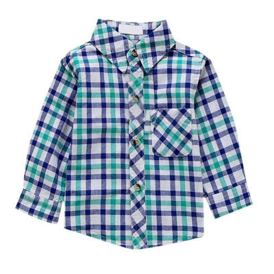 Green/Navy Blue Plaid Casual Regular Fit Long Sleeve Shirts for Boys, Boy Shirts - Peeksify.com