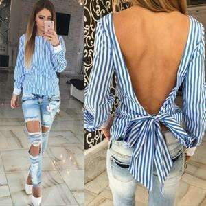 Backless Bowknot Striped Pattern Long Sleeve Sexy Blouse for Women, Women Blouses - Peeksify.com