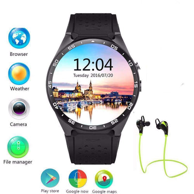 "KW88 MTK6580 CPU 1.39"" Screen 2.0MP Camera GPS 3G WiFi Connectivity SmartWatch [Android Compatible], Smart Watches - Peeksify.com"