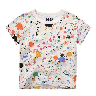 Summer Multicolor Graffiti Spots Cotton T-Shirt for Boys - Peeksify.com