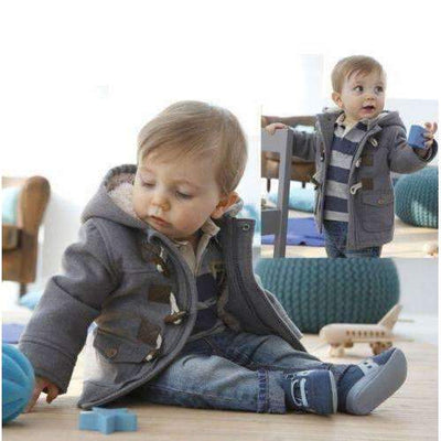 Winter Fleece Horn Button Hooded Casual Coat for Baby Boys - Peeksify.com