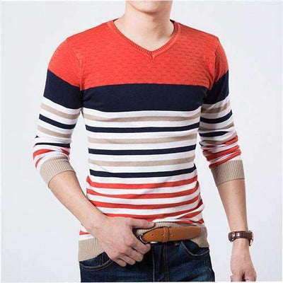 New Arrival Knitted V-Neck Striped Sweater for Men [3 Colors Available], Men Sweaters - Peeksify.com