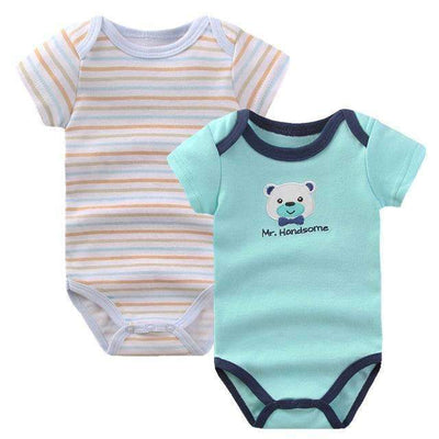 2PCS Set Comfortable Soft Cotton Short Sleeve Bodysuit for Baby Boys [Bear & Stripes] - Peeksify.com