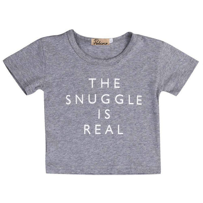 THE SNUGGLE IS REAL Printed Summer Basic Cotton Short Sleeve T-Shirt for Baby Boys - Peeksify.com