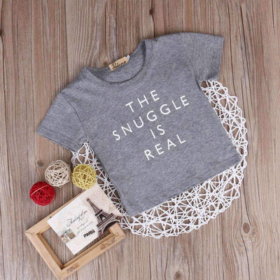 THE SNUGGLE IS REAL Printed Summer Basic Cotton Short Sleeve T-Shirt for Baby Girls - Peeksify.com