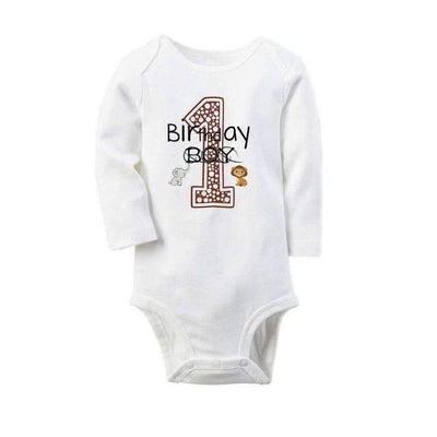1st Anniversary Printed Casual Soft Cotton Long Sleeve Bodysuit for Baby Boys - Peeksify.com
