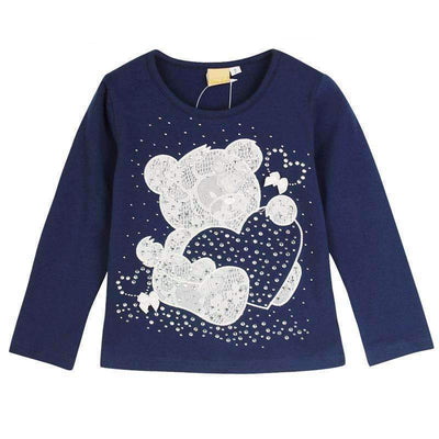 Fashion Cute Bear Long Sleeve Cotton T-Shirt for Girls - Peeksify.com