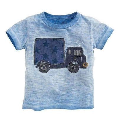 Cargo Truck Toy Printed Cotton Summer T-Shirt for Baby Boys - Peeksify.com