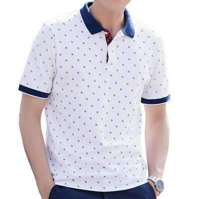 100% Cotton Sailing Anchor Printed Short Sleeve Polo Shirt for Men, Men Polos - Peeksify.com
