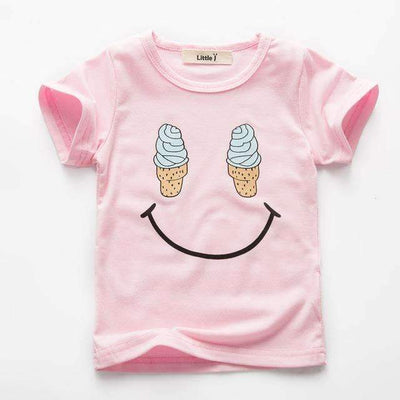 Ice Cream Happy Face Cartoon Printed Cotton Short Sleeve T-Shirt for Girls, Girl T-Shirts - Peeksify.com