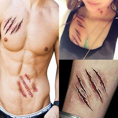 5PCS Halloween Blood Injury & Scar Temporary Tattoos - Peeksify.com