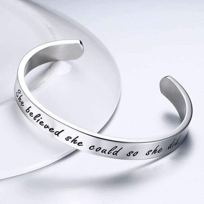 Engraved Stainless Steel Open Cuff Bracelet Women/Men - Peeksify.com