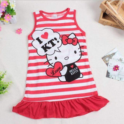 HELLO KITTY Cotton Summer Comfortable Dress for Girls, Girl Dresses - Peeksify.com