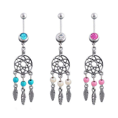 Fabulous Dream Catcher Crystal Surgical Steel Belly Button Piercing - Peeksify.com