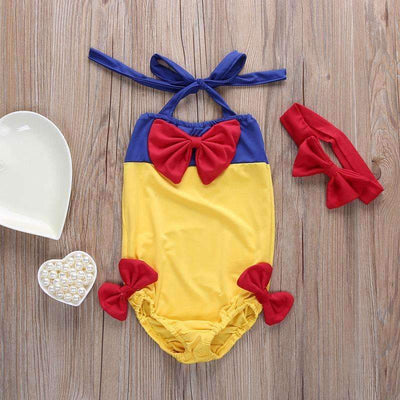 New Summer Snow White Costume Full Body Swimsuit Set with Headband for Girls - Peeksify.com