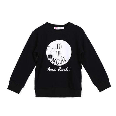 TO THE MOON & BACK Letters Printed Long Sleeve Black Cotton Sweatshirt for Baby Boys - Peeksify.com