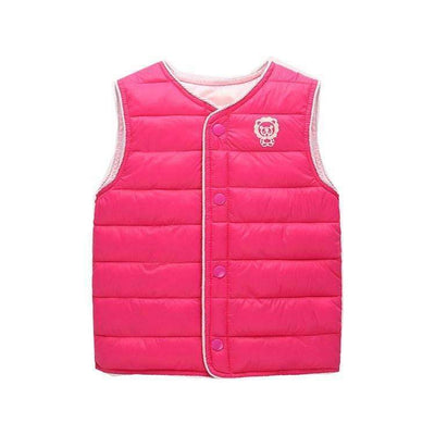 Cartoon Solid Color Warm Sleeveless Vest Jacket for Girls - Peeksify.com