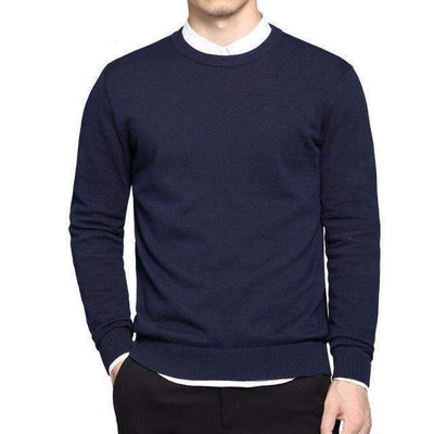 Simple Classic Style Cotton O-Neck Solid Color Sweater for Men - Peeksify.com