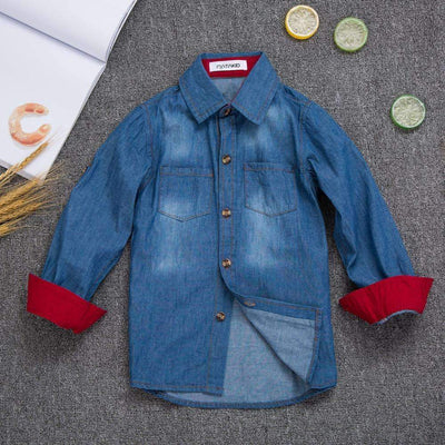 Denim Jeans Washed 100% Cotton Buttoned Red Interior Long Sleeve Casual Shirt for Boys, Boy Shirts - Peeksify.com