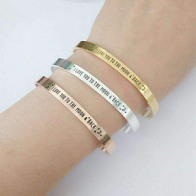 Message Engraved Bracelet Women/Men - I LOVE YOU TO THE MOON & BACK - Peeksify.com